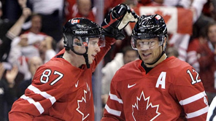 Sidney Crosby and Jarome Iginla Sidney Crosby congratulates Canada linemate Jarome Iginla on a goal during the 2010 Winter Olympics in Vancouver.