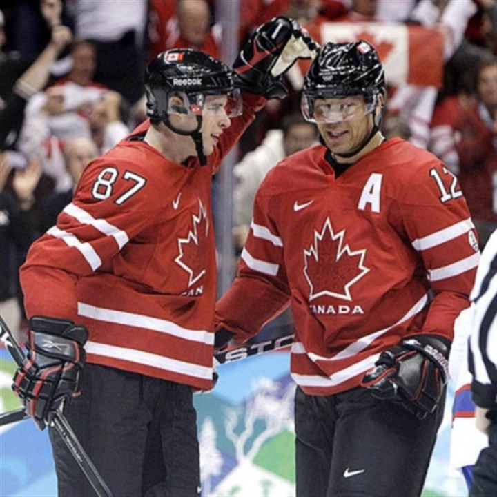 Sidney Crosby and Jarome Iginla Sidney Crosby and Jarome Iginla, just acquired by the Penguins, helped Canada win the gold medal in the 2010 Olympics at Vancouver.