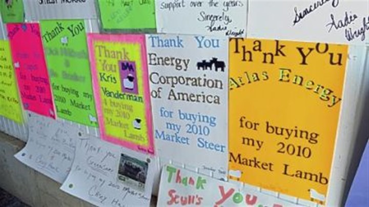 Signs thanking buyers of their livestock Signs thanking buyers of their livestock are hanging at the Greene County Fair in Waynesburg, Pa. The fair has many energy-related sponsors including EQT Corporation Chevron, Consol Energy and ECA Energy. The 4-H Market sale includes purchases by energy companies.