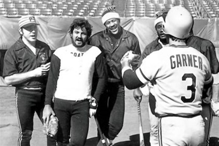 "Sing-a-long time Sing-a-long time at Three Rivers in 1979 with Pirates Phil Garner, Ed Ott, Steve Nicosia, Willie Stargell and Matt Alexander singing ""We Are Family."""
