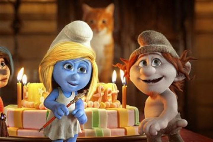 "'Smurfs 2' Vexy (voice of Christina Ricci), Smurfette (Katy Perry) and Hackus (J.B. Smoove) in ""Smurfs 2."""