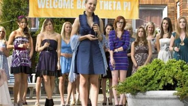 "'Sorority Row' Lining up in ""Sorority Row"" are, from left, Jamie Chung, Briana Evigan, Leah Pipes (front center) and Rumer Willis (in striped dress)."