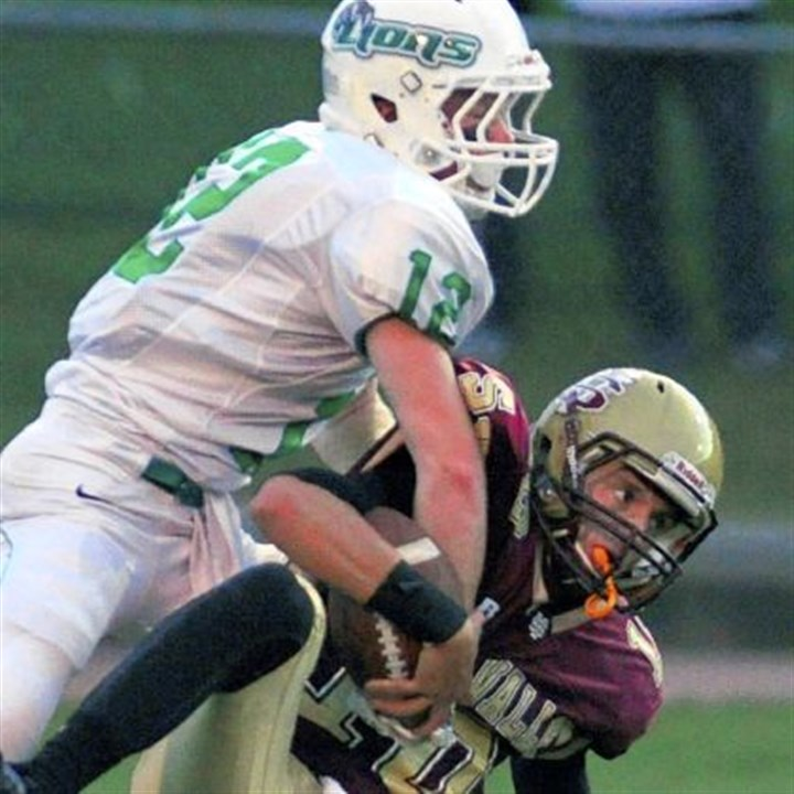 South Fayette's Hayden Orler sacks Steel Valley quarterback Connor Stevens South Fayette's Hayden Orler sacks Steel Valley quarterback Connor Stevens in the first half Friday at Steel Valley.