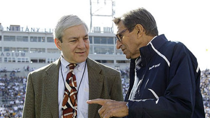 Spanier and Paterno Penn State President Graham Spanier, left, talks with Coach Joe Paterno before a football game against Iowa in October in Beaver Stadium.