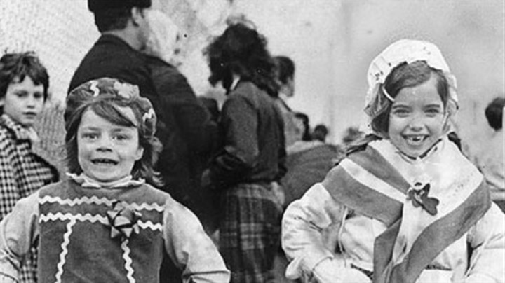St. Patrick's Day Parade 1974 Theresa Harrigan, 6, left, of Dormont, and Gretchen Geister, 6, of Mount Lebanon, put their best foot forward as they warm up in the St. Patrick's Day parade formation area in the Lower Hill in 1974