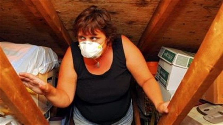 Stacy Beisler Stacy Beisler climbs the ladder into the attic of her Lincoln home wearing a mask to shield her from the soot on the boxes. She says black soot covers everything in the attic and will makes her sick if she goes there without a mask.