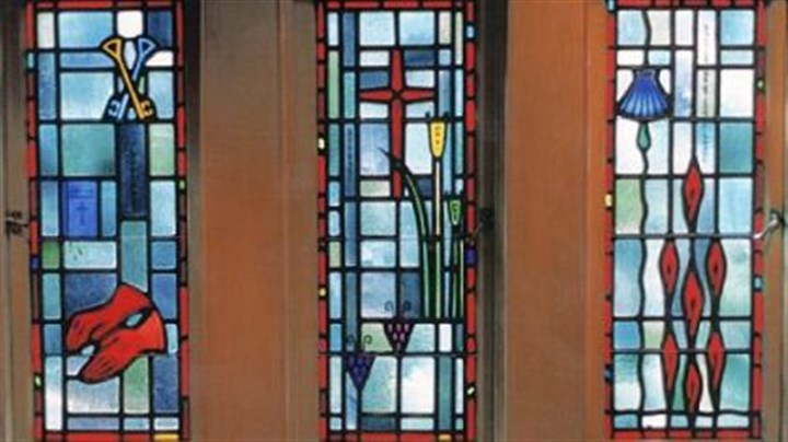 Stained glass Windows created by Henry Hunt Studios for a chapel in the bishop's mansion. The symbols in the windows describe the duties of a bishop, and were commissioned by Bishop John Dearden.