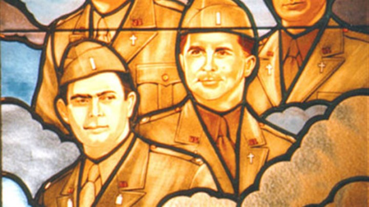 Stained-glass window This stained-glass window at the Pentagon honors the four chaplains of the Dorchester.