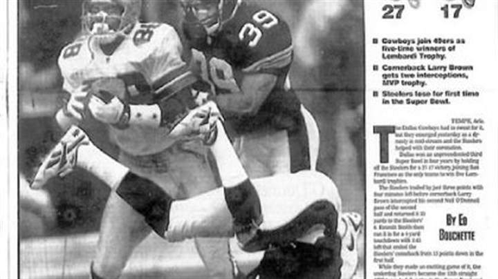 "Star Struck Pittsburgh Post-Gazette ""Steelers Extra"" front page coverage of Super Bowl XXX of the January, 28, 1996 game in Tempe, Ariz. Dallas beat the Steelers 27-17. This section was in front of the regular news front page with the Pittsburgh Post-Gazette masthead making that section the ""second front page."""