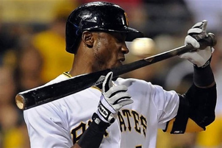StarlingMarte Starling Marte falls back to get out of the way of a wild pitch by the Marlins' Tom Koehler in the fifth inning Wednesday night at PNC Park.