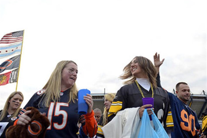 "steele pregame1 Bears and Steelers fans danced together to the ""Cupid Shuffle"" outside Heinz Field before the start of the game Sunday night."