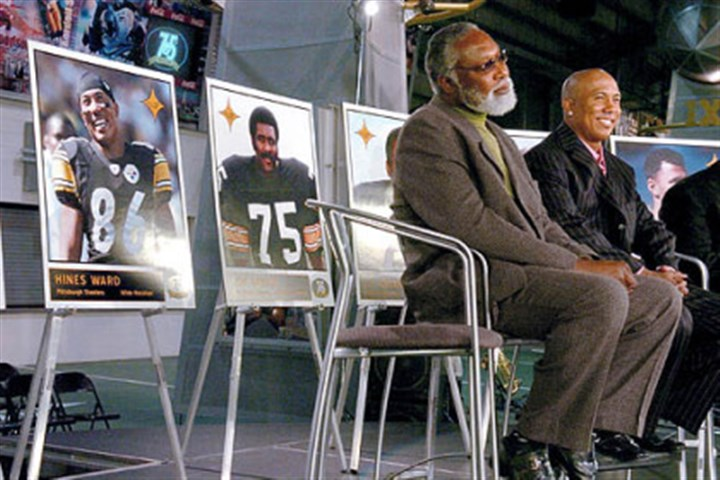 Steelers announce All-Time Team Steelers L.C. Greenwood, left, and Hines Ward are honored in 2007 as members of the Steelers All-Time team as selected by fans.