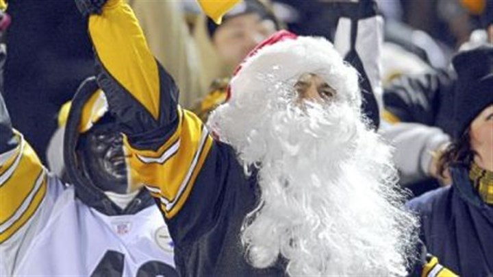 Steelers fan All he wants for Christmas ... a festive Steelers fan cheers on his team against the Carolina Panthers Thursday night.