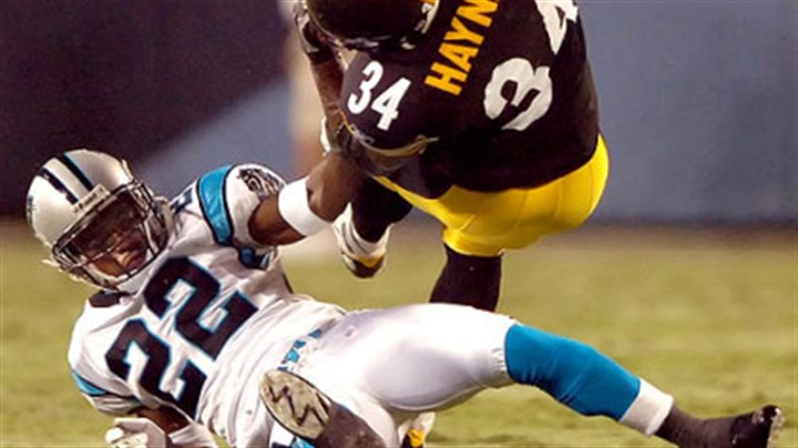 Steelers Verron Haynes Verron Haynes is upended by the Panthers' Derrick Strait in the first half Thursday night. Haynes is fighting for one of the running back spots on the roster.