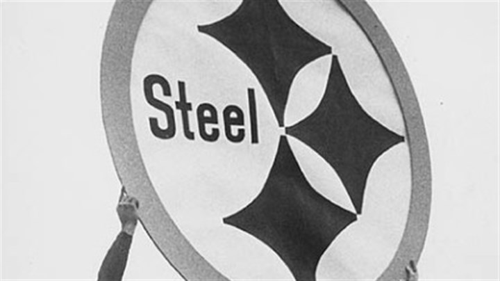Steelmark logo Steelers John Henry Johnson, left, Bobby Layne, Dick Hoak and Buddy Dial hold the original Steelmark in 1962. The logo was adopted that year for the team's helmets.