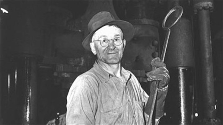 Steelworker Hungarian-American employee at the Carnegie-Illinois Steel Corp. Homestead Steel Works Press Shop in 1944.