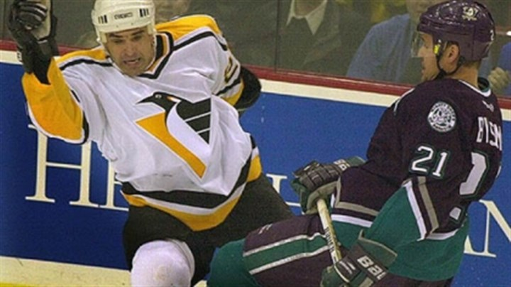 stevens checks bylsma A 2001 file photo shows former Pittsburgh Penguin Kevin Stevens running into Dan Bylsma of the Mighty Ducks during a game in Pittsburgh (yes, that Dan Bylsma.)