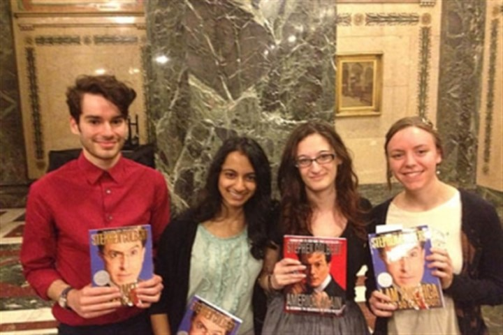students colbert University of Pittsburgh students (from left) Jacob Stehman, Harini Chandramouli, Tori Gold, and Elizabeth Peters show off their Stephen Colbert books.