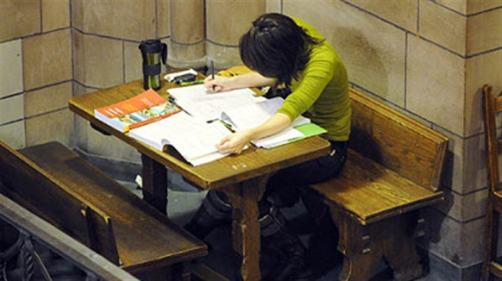 Study time Elise Ramirez studies in the Cathedral of Learning, University of Pittsburgh.