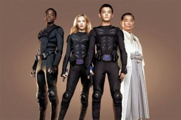 "'Supah Ninjas' Carlos Knight, left, Gracie Dzienny and Ryan Potter are ""Supah Ninjas,"" under the guidance of George Takei, on Nickelodeon."