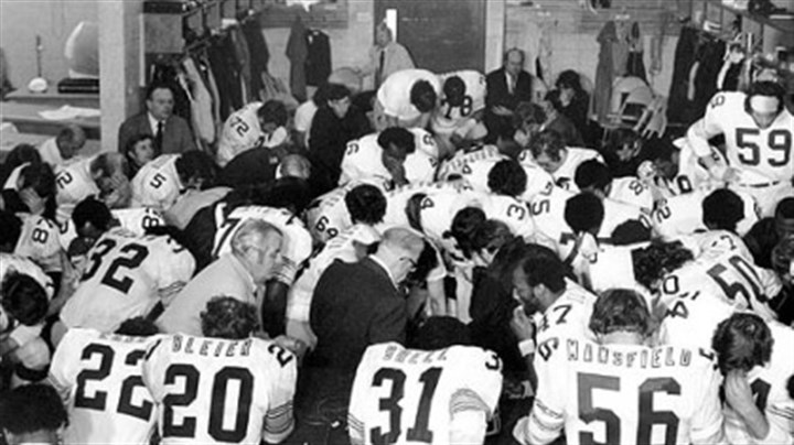Super Bowl IX Steelers owner Art Rooney, center in dark suit, joins his team in prayer in the dressing room after they won Super Bowl IX in New Orleans over the Minnesota Vikings, 16-6.