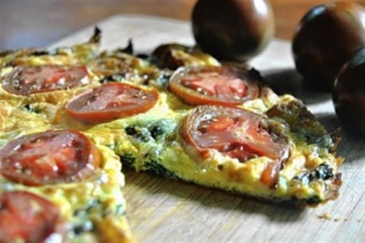 Swiss Chard and Swiss Frittata with tomatoes Swiss Chard and Swiss Frittata with tomatoes