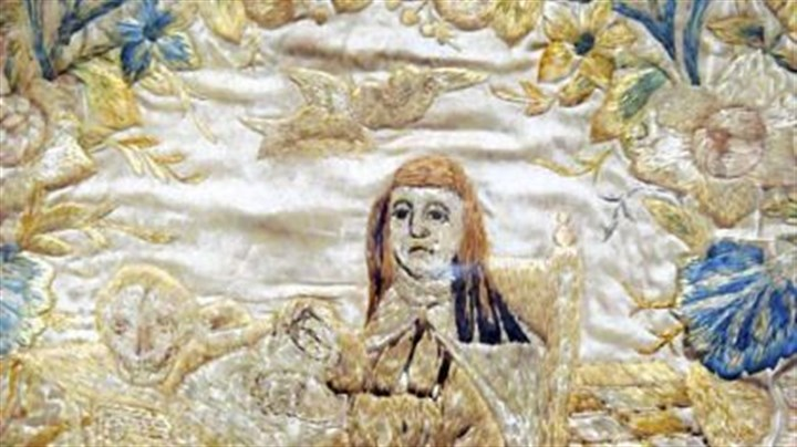 Tapestry depicting St. Winifred This tapestry depicting St. Winifred, several hundred years old, was acquired by former Pittsburgh Bishop (later Cardinal) John Wright on a trip to London in 1960. He presented it to the new parish 50 years ago.