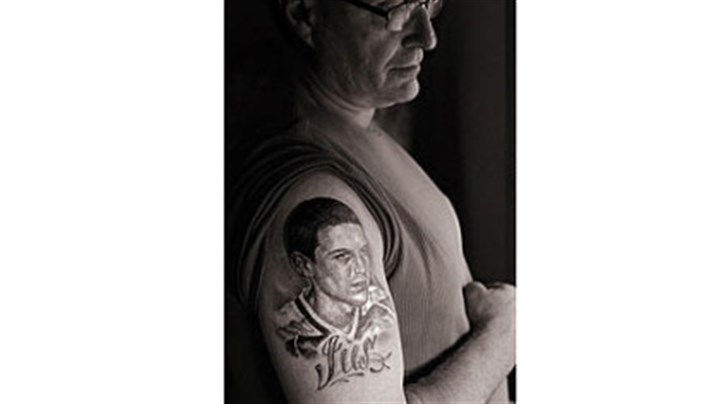 "Tattoo Duane DiPietro says ""I'm not a tattoo person."" But after his son, Justin, died from a heroin overdose he got a tattoo of him, ""so he can always be with me."""
