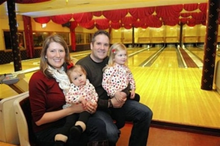 Tatum and Steven Veverka Tatum and Steven Veverka of Hampton sit with their daughters Mia, 3, with Steven, and Macy, 1, at Arsenal Bowling Lanes in Lawrenceville. Steven and Tatum met there nine years ago in a bowling league.