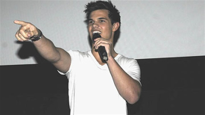 Taylor Lautner at Waterfront Actor Taylor Lautner addresses fans at AMC-Loews theater at The Waterfront Saturday night.