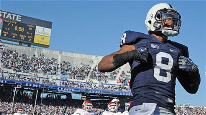 TD 2 Penn State's Allen Robinson celebrates his second touchdown of the game against Indiana in the second quarter.