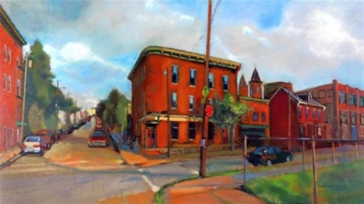 "Teaching art 1 ""Round Corner Hotel,"" oil on masonite by William Pfahl, Pittsburgh Public Schools. Mr. Pfahl is among 23 local public school teachers whose work appears in the exhibition at Panza Gallery in Millvale."