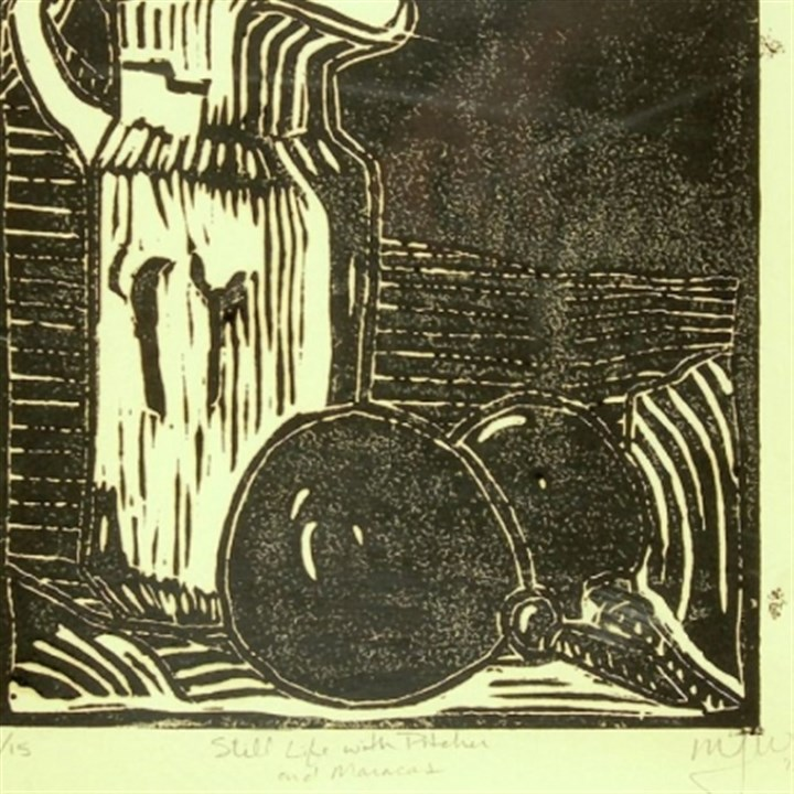 "Teaching art 6 ""Still Life with Pitcher and Maracas,"" a linocut by Mary Mastren-Williams, Chartiers Valley School District."