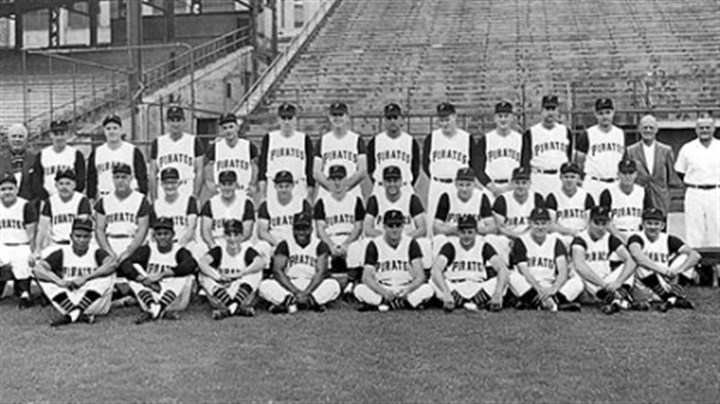 Team Photo 1960 Pittsburgh Pirates, National League Champions Row 1: Gene Baker, Roberto Clemente, batboy Bob Recker, Joe Christopher, Tom Cheney, Roy Face, Rocky Nelson, Bill Mazeroski, Bob Oldis. Row 2: Manager Danny Murtaugh, coach Frank Oceak, coach Sam Narron, coach Bill Burwell, coach Lenny Levy, Smoky Burgess, Dick Schofield, Gino Cimoli, Bob Skinner, Hal Smith, Bill Virdon, Don Hoak. Row 3: Traveling secretary Bob Rice, Harvey Haddix, Bob Friend, coach Mickey Vernon, Dick Groat, Joe Gibbon, Dick Stuart, Earl Francis, George Witt, Vernon Law, Fred Green, Wilmer Mizell, coach George Sisler, trainer Danny Whealan. The team photo was taken earlier in the season; not all those pictured were part of the World Series roster.