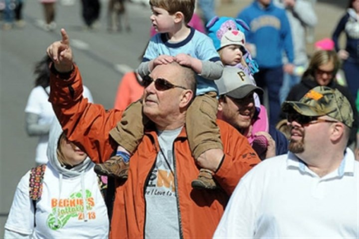 "Ted Popivchak and his grandson Ted Popivchak of Carnegie points out a Downtown building to his grandson, Palmer Weil, 3, as they walk up the Boulevard of the Allies in the annual ""Walk MS: Pittsburgh"" event."