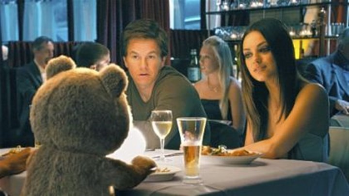"Ted with Mark Wahlberg and Mila Kunis Ted (voiced by Seth MacFarlane) has dinner with Mark Wahlberg and Mila Kunis in ""Ted."""