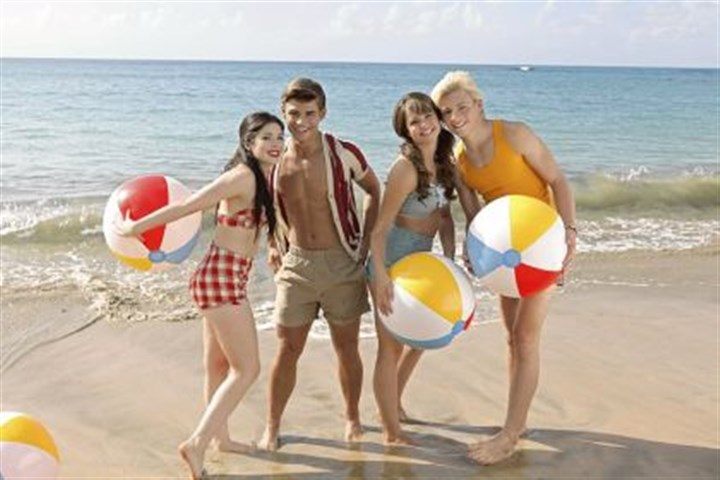 "'Teen Beach Movie' Grace Phipps, left, Garrett Clayton, Maia Mitchell and Ross Lynch portray youths trapped in a ""Teen Beach Movie"" on Disney Channel.Syfy"