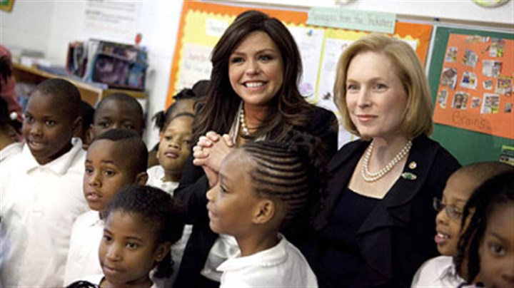 Television personality Rachael Ray Television personality Rachael Ray, center, and Sen. Kirsten Gillibrand, D-N.Y., visit third-graders on Tuesday at Payne Elementary Schoolin Washington to promote healthy eating.