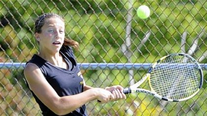 tennis Kylie Isaacs, North Allegheny's No. 1 singles player, returns a shot against Sewickley Academy in a match last week.