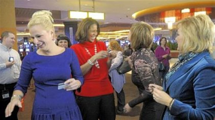 "The cast of ""Dance Moms"" The cast of ""Dance Moms,"" from left, Christi Lukasiak, Holly Hatcher-Frazier, Kelly Hyland and Jill Vertes, share a laugh during a news conference at the Rivers Casino."