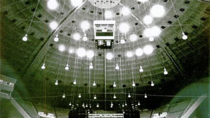 The Civic Arena On Sept. 15, 1986, the ceiling of the Civic Arena dazzles as the stage is set for a concert.