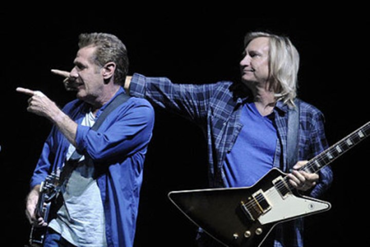 "The Eagles 3 The Eagles' Glenn Frey and Joe Walsh recognize the rest of the group in ""History of the Eagles"" tour at Consol Energy Center."