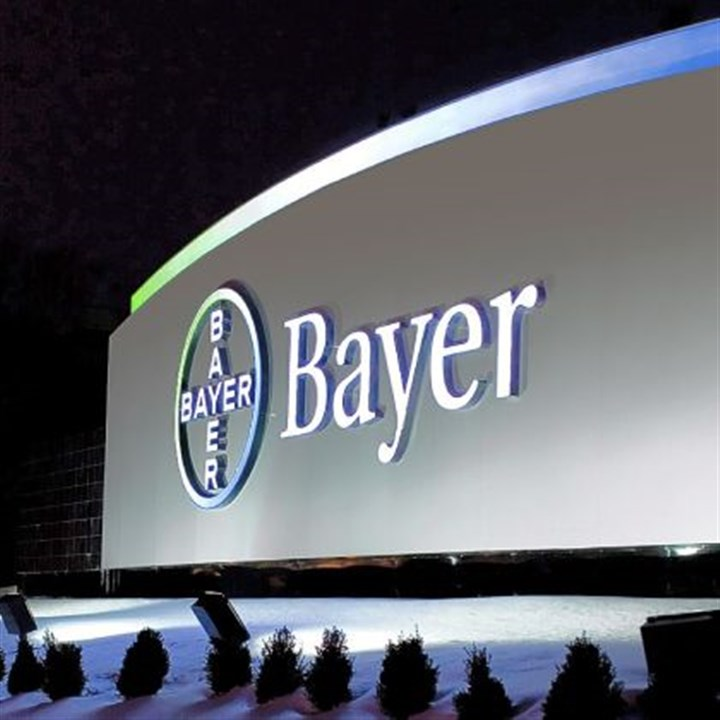 Bayer logo The familiar Bayer logo welcomes visitors to the company's 300-acre campus in Robinson.