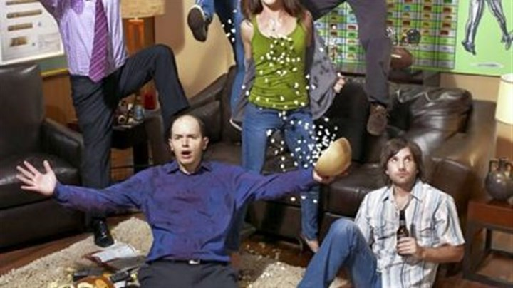 "'The League' airs on FX Getting rowdy in FX's ""The League"" are, clockwise from top left: Nick Kroll, Mark Duplass, Stephen Rannazzisi, Katie Aselto, Jon Lajoie and Paul Scheer."