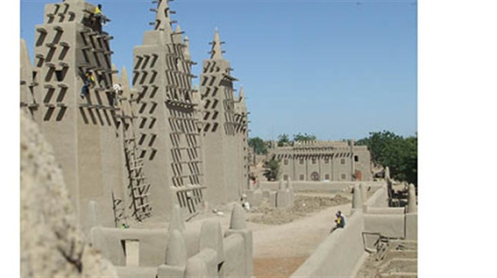 The mosque in Djenne, Mali The mosque in Djenne, Mali, is the largest adobe structure in the world.