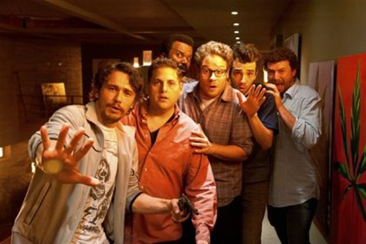 "The Rapture as a movie theme From party to a hellish encounter puts, from left, James Franco, Jonah Hill, Craig Robinson, Seth Rogen, Jay Baruchel and Danny McBride in peril in ""The End of the World."""