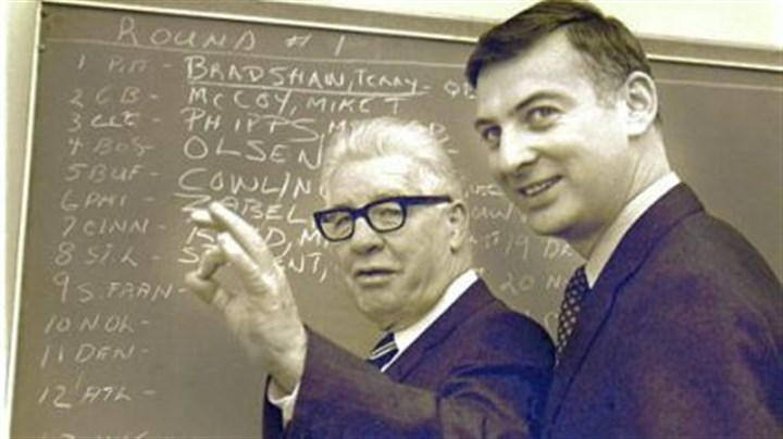 The Rooney braintrust Pittsburgh Steelers owner Art Rooney, left, gestures as he discusses the signing of quarterback Terry Bradshaw, as his son, Dan, looks on in Pittsburgh, in this January 27, 1970 photo.
