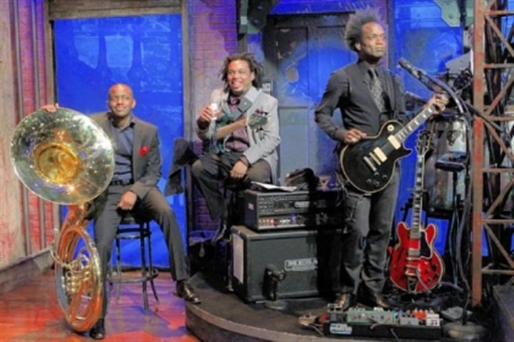 "The Roots ""Late Night With Jimmy Fallon"" house band The Roots members Damon Bryson, aka ""Tuba Gooding Jr.,"" Mark Kelley and Kirk Douglas, aka Captain Kirk."