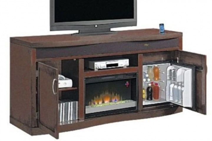 The Twin-Star Classic Flame media console The Twin-Star Classic Flame media console with heat producing fireplace and refrigerator.