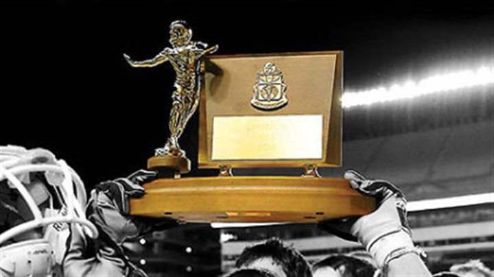 The WPIAL Championship Trophy In a battle of unbeatens between Alquippa and Washington at Heinz Field, the only question is who will raise the trophy at the end?